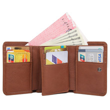 .M.D Wallet Men Coin Genuine Leather ID Card Holder Case Purse Solid Classic RFID Blocking Wallets R-8106B-1