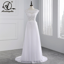 2017 Hot Selling Custom Made A Line Wedding Dresses Vestido de Noiva Casamento Chiffon Lace See