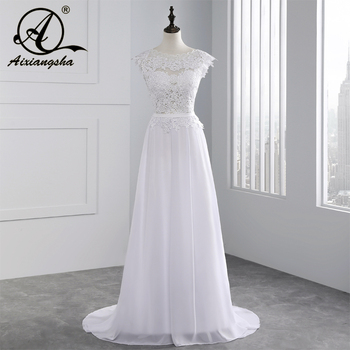 2017 Hot Selling Custom Made A Line Wedding Dresses Vestido de Noiva Casamento Chiffon Lace See