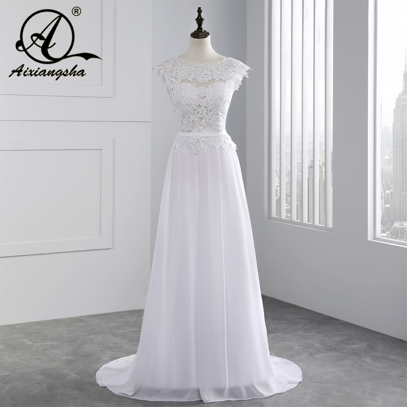 2018 Hot Jual Custom Made A Line Wedding Dresses Casamento Vestido de Noiva Chiffon Lace Lihat melalui Backless Robe De Mariage