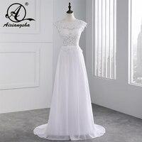 2018 Hot Selling Custom Made A Line Wedding Dresses Vestido de Noiva Casamento Chiffon Lace See through Backless Robe De Mariage