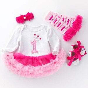 Party sukienka baby girl 1st urodziny sukienka z długim rękawem noworodka sukienka tutu koronki tiul girl chrzest sukienki z pałąkiem na głowę 4 sztuk/zestawów prezent