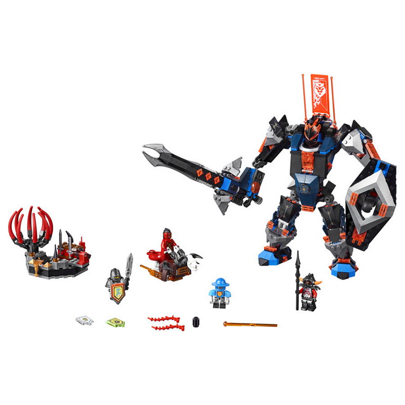 LEPIN 14023 Nexo Knights Axl Black Knight Mech Figure Blocks Construction Building Bricks Toys For Children Compatible Legoe lepin 663pcs ninja killow vs samurai x mech oni chopper robots 06077 building blocks assemble toys bricks compatible with 70642
