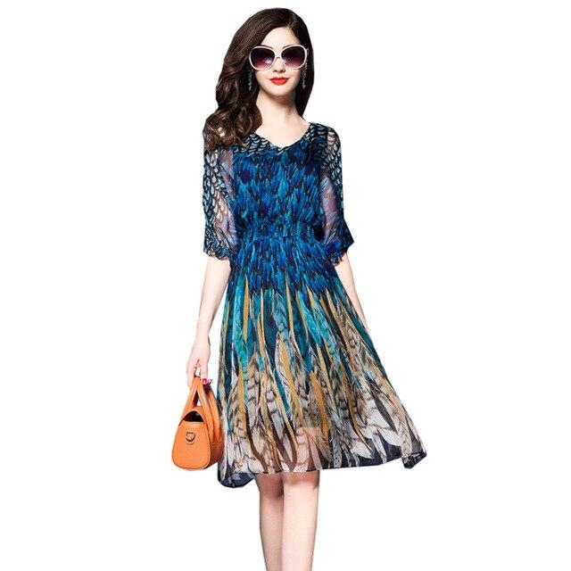 Women Vintage Chiffon Party Dress Elegant Ladies A Line Flare Knee ...