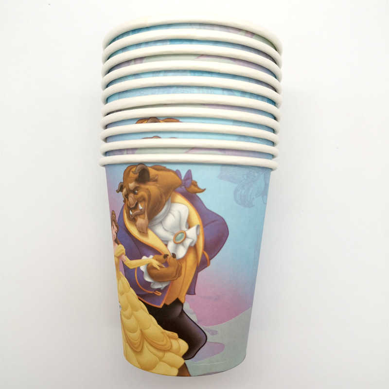 61 pcs feliz aniversário festa toalha de mesa decorar toalha de mesa beauty beast tema placas de papel copos chá de fraldas meninas favores guardanapos
