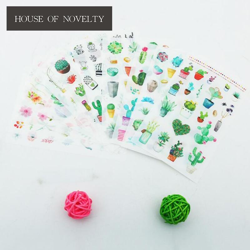 6-unidades-pacote-verde-cactus-planta-decorativa-washi-adesivos-diario-papelaria-Album-de-scrapbooking-etiqueta-da-vara-adesivos