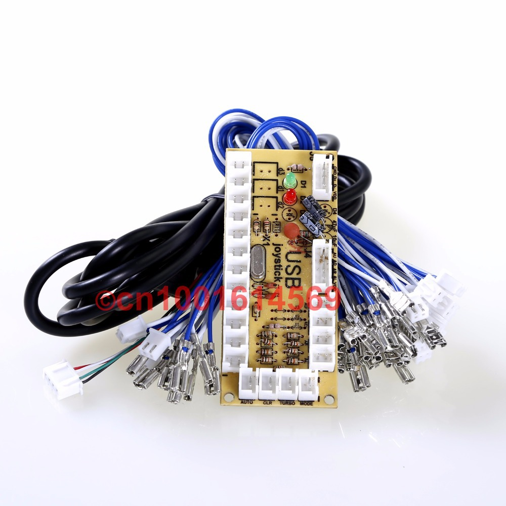 Free Shipping! New Zero Delay USB PC Joystick PCB Board USB Controls To MAME Games & Mini Table Top Arcade Machine - 2PIN+HAPP