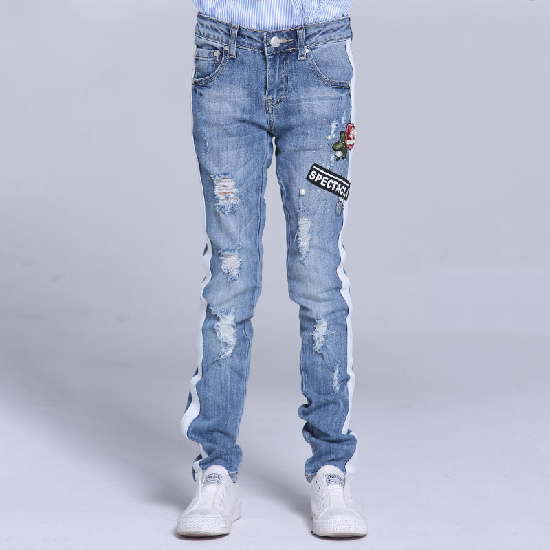 Kids Jeans Pencil Ripped Side Stripe Girls Jeans Pants Skinny Denim Holes Children Clothing Spring 2018 Size 9 10 11 12 13 14 Y