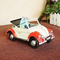 8301 Mini Beetle Convertible Mô Hình Kim Loại Thủ Công Mỹ Trắng/Xanh/Vàng