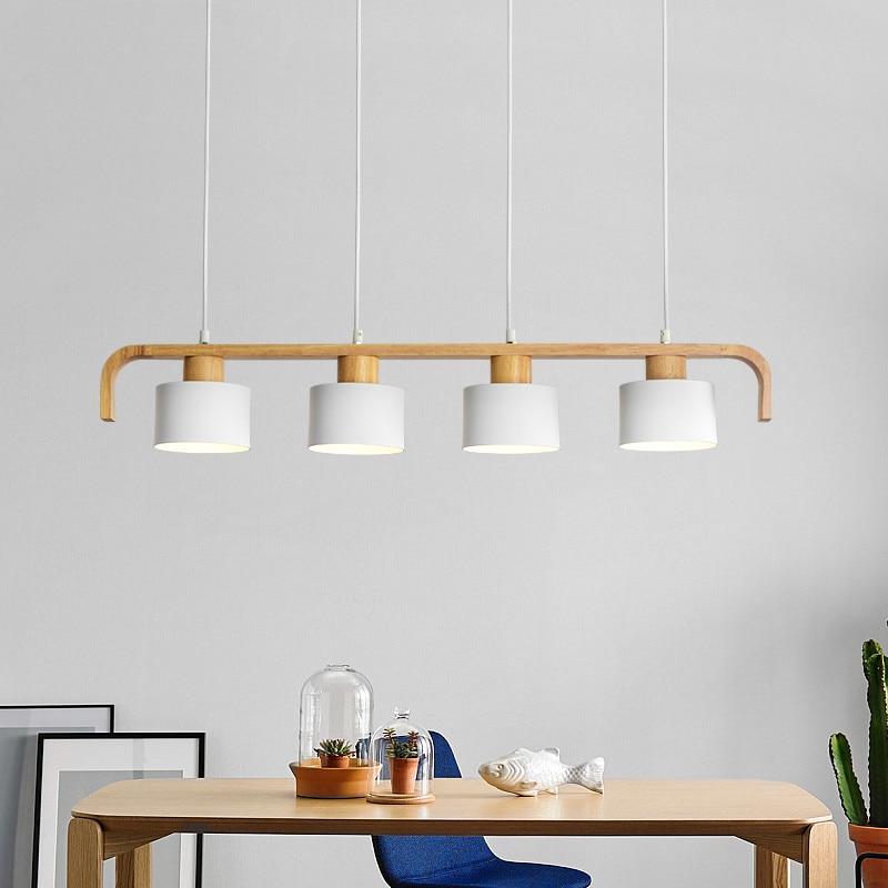 Moderno Pingente Luzes LED Com Abajur Para Sala De Jantar Em Madeira de Metal Pendurado Lâmpada E27 Madeira Cozinha Luminária