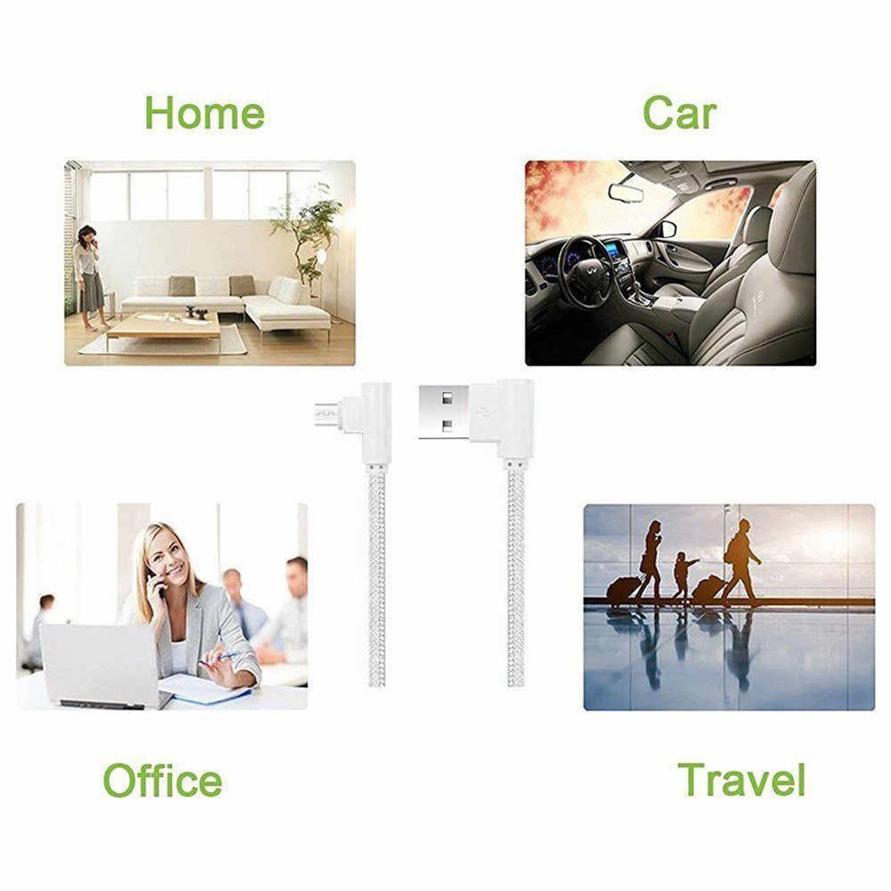 Neue Schnelle lade und daten übertragung funktion Nylon Geflochtene Micro USB 90 Grad Rechtwinklig 2A Schnelle Daten Sync Ladegerät Kabel