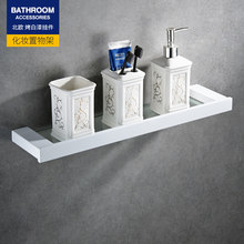 Nordic paint white square baskets 304 stainless steel white glass frame paper holder bathroom soap dish bathroom pendant set(China)