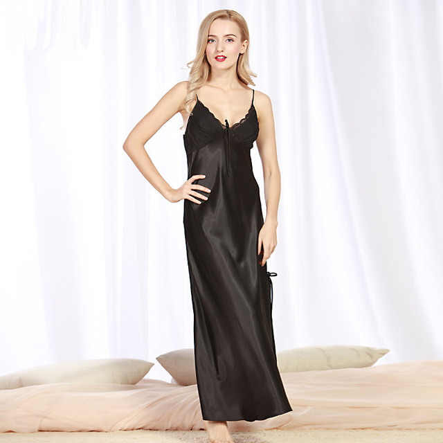 2017 nova verão mulheres lace Lingerie camisola longa camisola de seda robe de cetim preto sem mangas sexy sleepwear fêmea sleepdrees