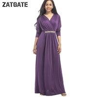 2017 Big Size Long Sleeve 6 Color Party Dress Women XXXL Autumn V Neck Elastic Sequin
