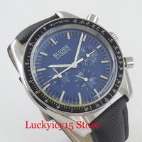 40mm Blue Dial Round Wristwatch Self Winding Men's Watch Date Week Function Leather Band