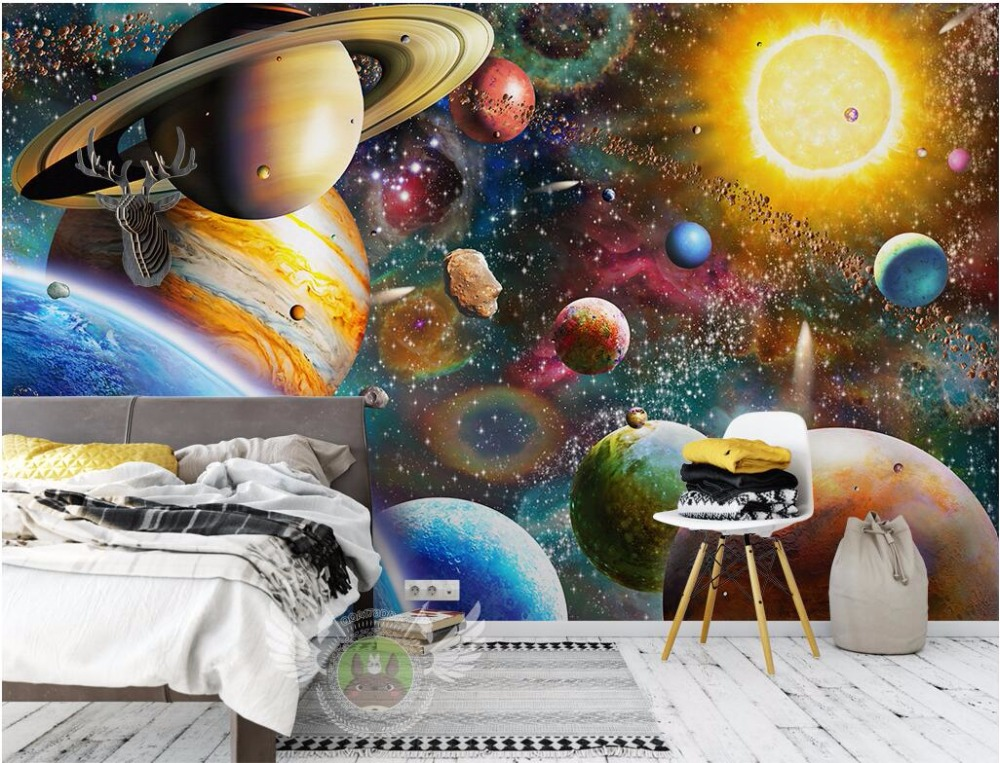 Custom photo mural 3d wallpaper the children room space for Childrens mural wallpaper