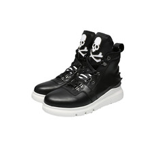HEYIYI Brand Casual Men Shoes Boots Originality 3D Print Quality Genuine Leather Laces High-Top Waterproof skull Cartoon Shoes