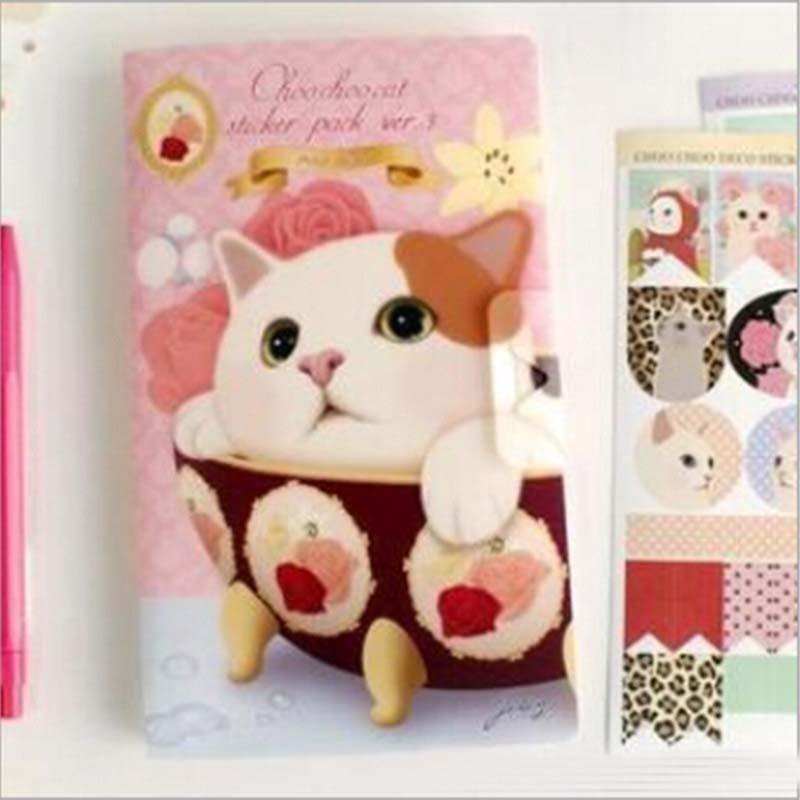 8 sheets/set cute cat paper sticker diy scrapbooking diary sticker post it kawaii stationery school supplies K7399