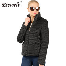 Ukraine 2017 Winter Jacket Women Mesh Splice Parkas Stand Collar Autumn Jacket Coat Cotton Padded Women Basic Jackets Female