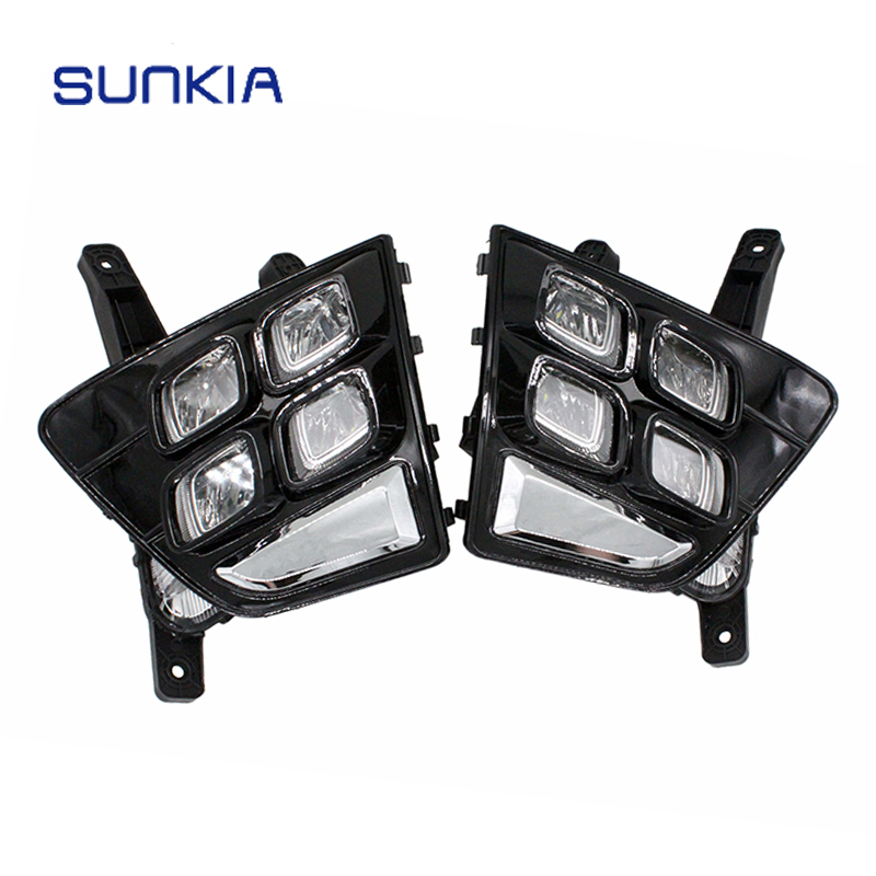 SUNKIA Car Accessories Waterproof ABS 12V LED Daytime Running Light Car Styling DRL Fog Lamp for Hyundai IX25 2014-2016