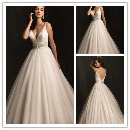 Designer Top Lace Ball Gown Wedding Dresses Y Backless Bridal Gowns Korean Dress Free Shipping