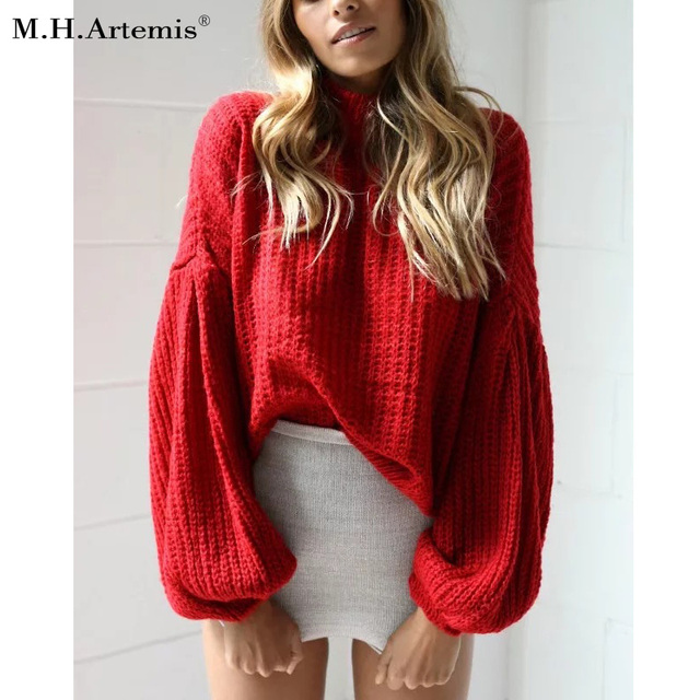 c6527ec02a M.H.Artemis Oversized knitted sweater pullover Winter lantern sleeve loose sweater  women warm top Elegant long sleeve chic Top