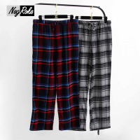 Hot Sale Spring 100 Cotton Male Sleep Bottoms Comfort Casual Mens Sleepwear Trousers Plaid Pijamas Mens