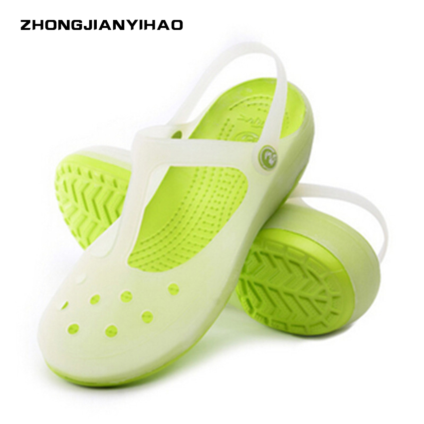 Zhongjianyihao Woman Slipper Pantufa summer jelly shoes cave shoes female color changing beach shoes white nurse white shoes