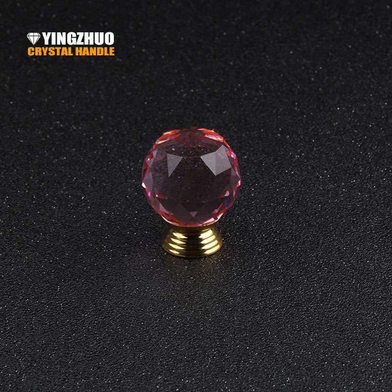 30mm Pink Crystal Glass Ball Alloy Base Handle Furniture Accessories Hardware Drawer Cabinet Wardrobe Door Knob 5pcs for sale 2pcs set stainless steel 90 degree self closing cabinet closet door hinges home roomfurniture hardware accessories supply