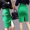 Карандаш Юбки 2016 Женщины Плюс Размер Высокая Талия Тонкая Бедра Формальный Saias Feminino Леди Классический Колен Офис Юбки