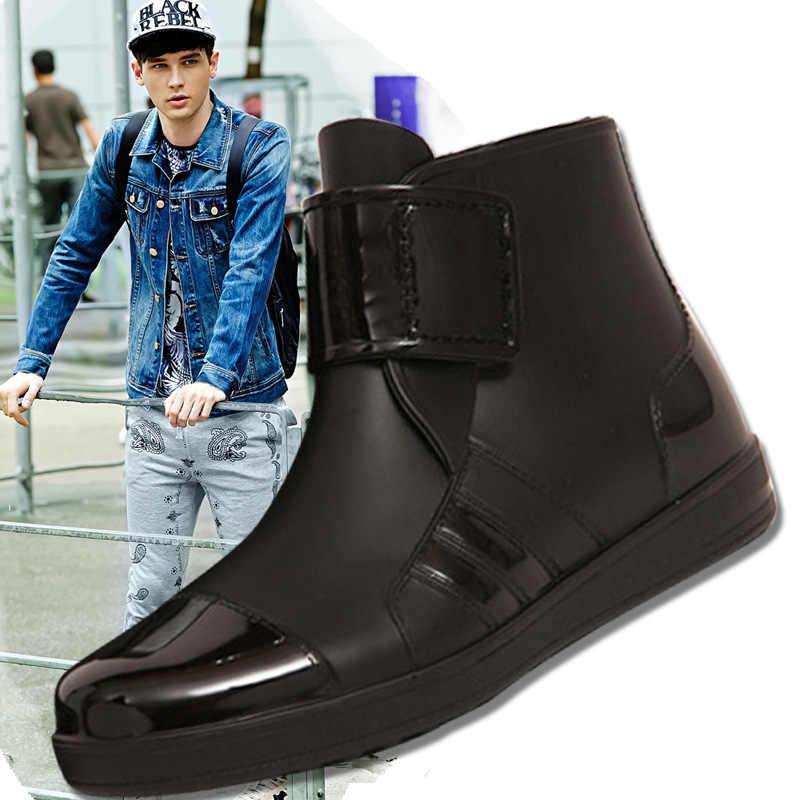 Lastik çizmeler 2017 Su Geçirmez Moda Jöle Erkekler Ayak Bileği yağmur botu Elastik Bandı Düz Renk Yağmurlu Ayakkabı Erkekler rahat ayakkabılar 39-44