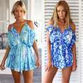 Summer Sexy Short Beach Cotton Print Jumpsuit Women Off-Shoulder Hollow Out Casual Playsuit Ladies Rompers Macacao Feminino