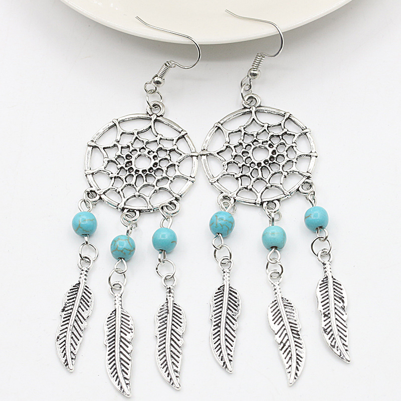 Top Dream Catcher Drop Earrings Silver Color Dangle Feather Blue  VU03
