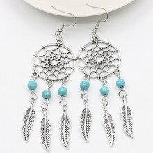 Dream Catcher Drop Earrings Silver Color Dangle Feather Blue Beaded Long Tassel Statement Charm Earring Women Bohemian Jewelry