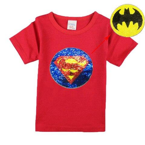 algodao a mudanca para batman superman homem de lantejoulas moda infantil t shirt para meninos