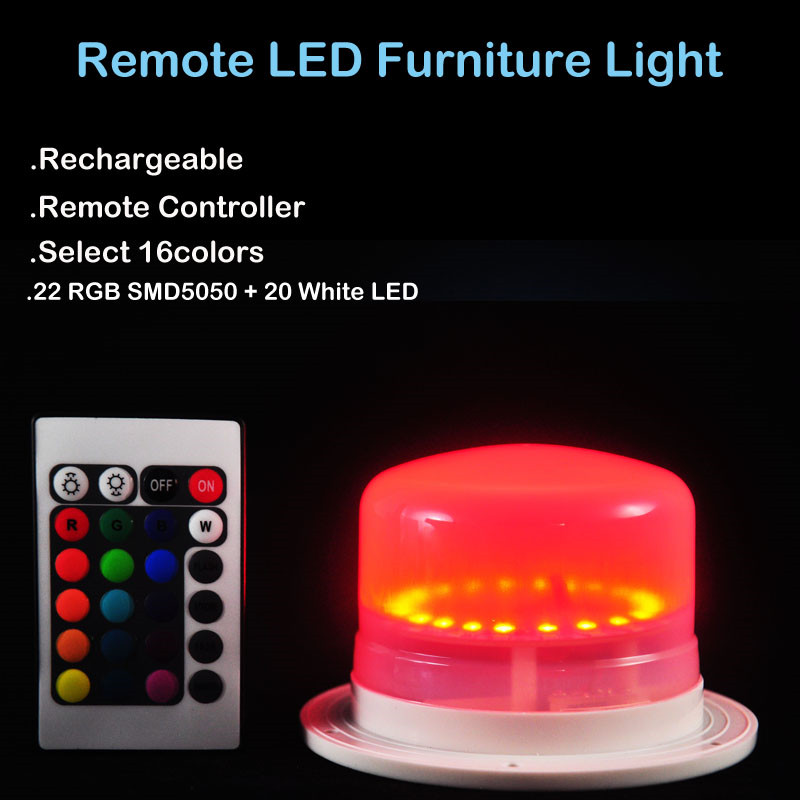 24 Keys Remote Controller 16 Colors Avaliable Rechargeable RGBW LED Furniture Light Under Table Lighting for Home&Wedding Decor