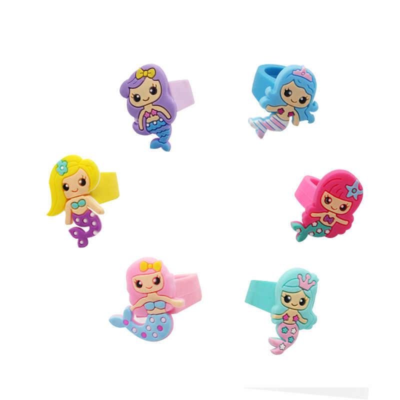 Nuevo 4 Uds sirena suave anillo de silicona anillo de cumpleaños decoraciones para fiestas niños sirena fiesta Baby Shower regalos obsequios fiesta
