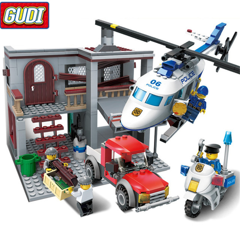 465pcs City Police Station Helicopter Building Blocks Kids Educational DIY Bricks Toy for Children Christmas Gift mtele 6729 toy building blocks minifigures gift for kids policeman swat and helicopter building bricks kit assemble set