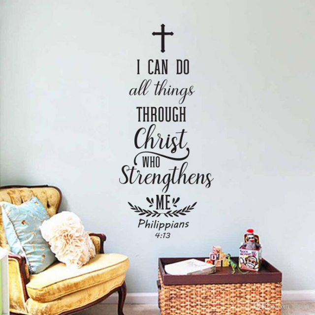Us 5 98 25 Off Bible Verse Wall Art Decal Sticker Christian Scripture Wall Decals For Living Room Removable Vinyl Home Decor Mural Bedroom D300 In