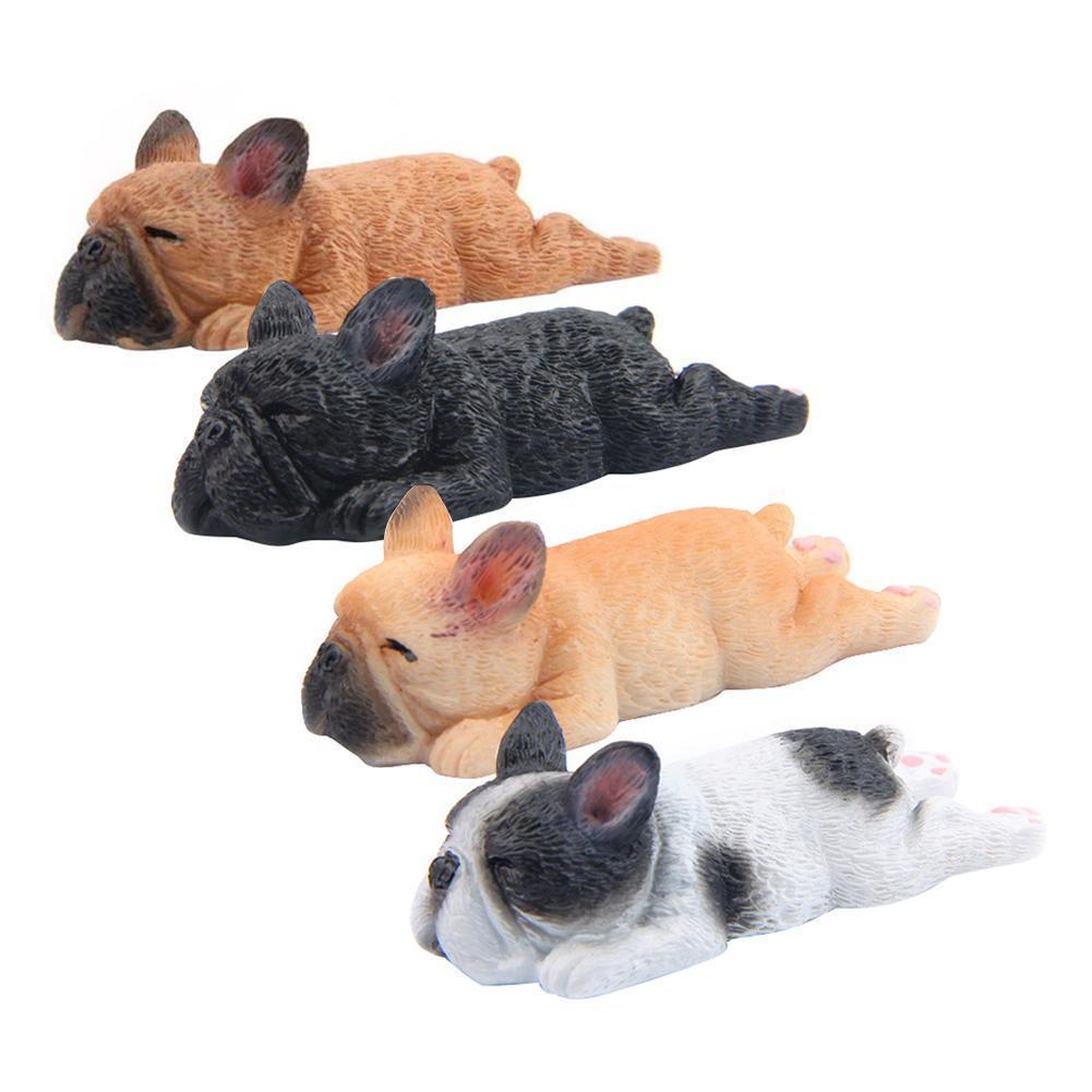 Lucu 3D Tidur Anjing Bulldog Kartun Hewan Kulkas Sticker