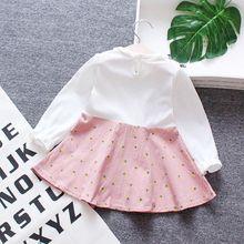 Baby Kids Girls Fake 2pcs Floral Dress Clothes 6M-4Y