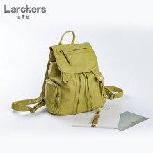 Larckers mujeres soft pu mujeres mochila dos colores sólidos niñas informal bolso de cadena y la cubierta de las señoras mochila