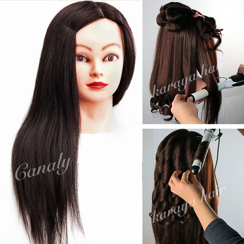 Black 100% Human Hair Mannequin Head Can Curl Professional