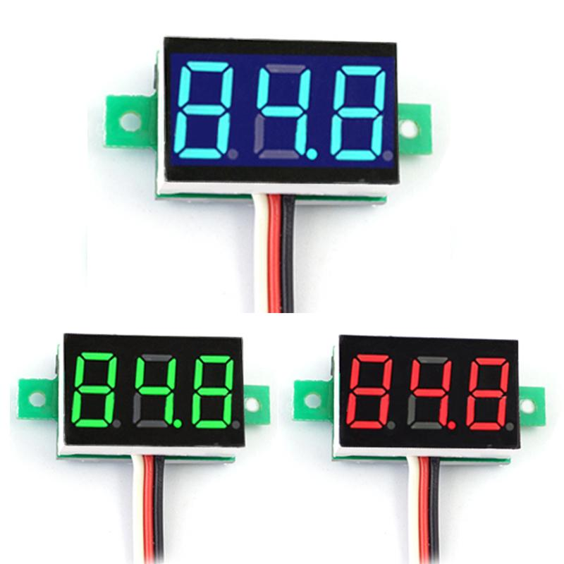 Mini Digital Voltmeter Ammeter DC3.0-30V Portable Digital Voltmeter <font><b>DC0</b></font>-<font><b>100V</b></font> Red Green Light LED Panel Voltage Meter Voltmeter image
