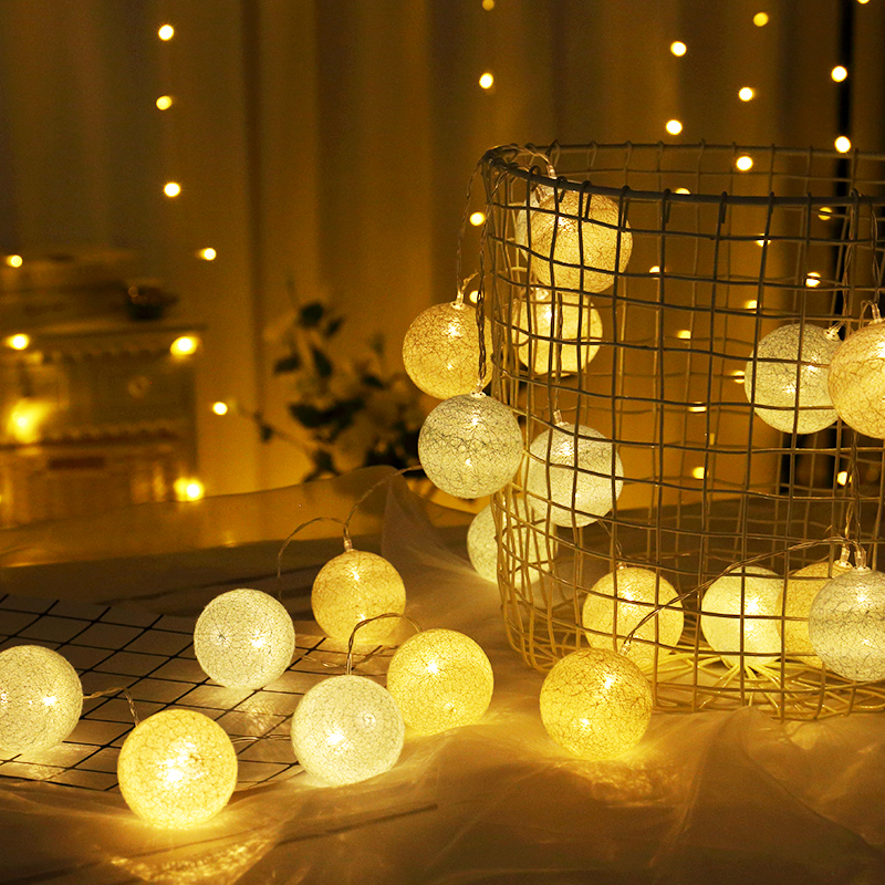 AA Battery Operated Cotton Ball Garland LED String Lights Decoration For Party Christmas Fairy Lights Holiday Bedroom Decor