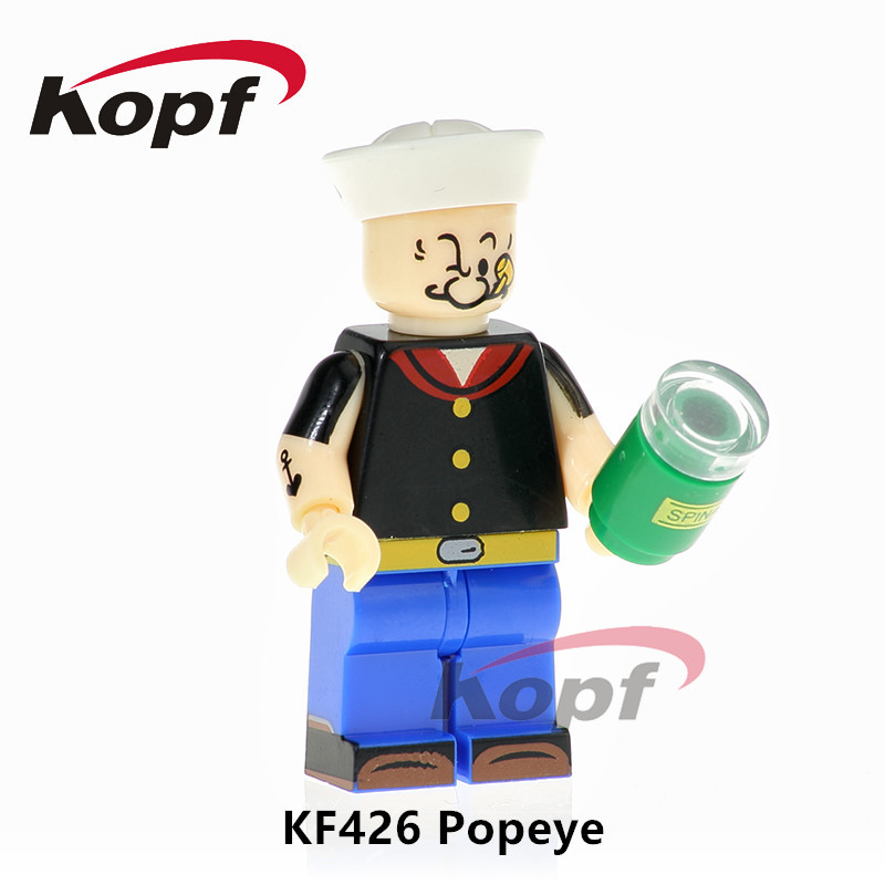 KF426 Super Heroes Single Sale Popeye Scarface Freddie Mercury Michael Jackson Building Blocks Bricks Model Children Toys Gift single sale building blocks super heroes bob ross american painter the joy of painting bricks education toys children gift kf982