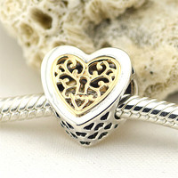 Fits Pandora Bracelet Charms Beads for Jewelry Making Locked Hearts Silver Charms with 14K Gold 925 Sterling Silver Jewelry