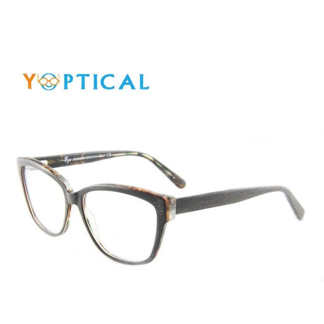 Mulher maravilha olho Oculos de grau Grande Woodenlike Armações de Acetato Armações de Óculos de Prescrição Do Vintage