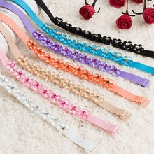 Women Bra Strap Flower Rhinestone Decoration Invisible Elastic Shoulder Straps for Bridal Wedding Party(China)