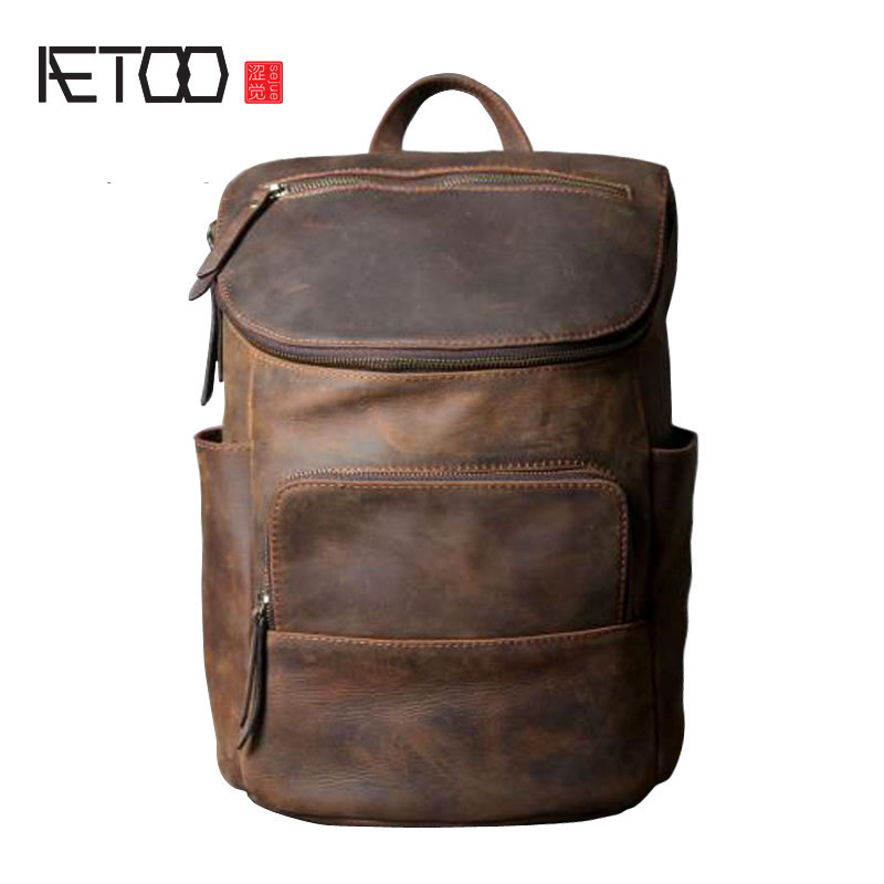 AETOO Original leather shoulder bag men and women backpack handmade retro classic multi - purpose bag aetoo spring and summer new leather handmade handmade first layer of planted tanned leather retro bag backpack bag